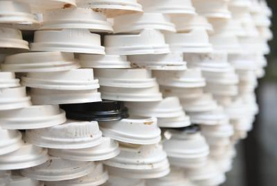Disposable coffee lids at MLC Centre