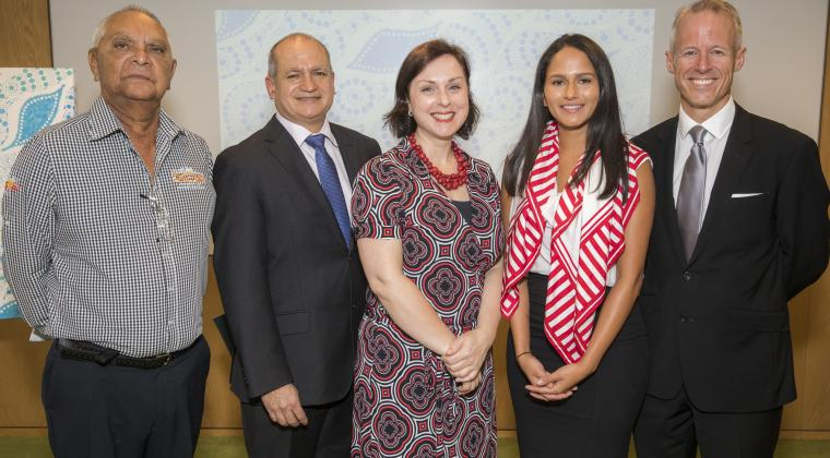 (From left to right) Gadigal Elder Uncle Ray Davison, GPT CEO Bob Johnston, NSW Reconciliation Council Chair Cecilia Anthony, GPT Business Development Executive Rhiannon Warrie and GPT Head of People & Performance Phil Taylor